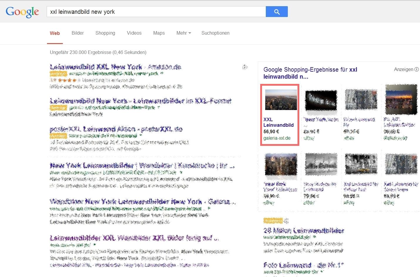 GALERIA XXL Google Product Listing Ads (PLA)
