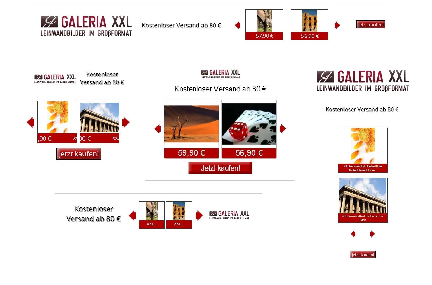 GALERIA XXL Google Remarketing Banner (dynamsiche Produkteinblendung)